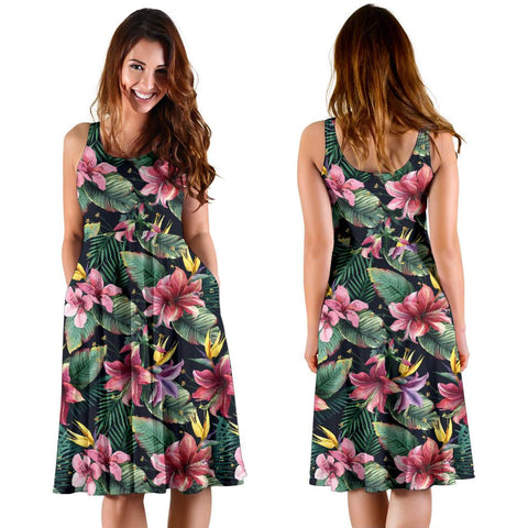 Hawaii Tropical Flowers, Palm And Leaves Midi Dress   - AH - J71