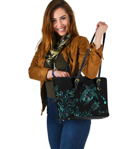 Personalized - Hawaii Turtle Ohana Paua Shell Small Leather Tote - AH - J4