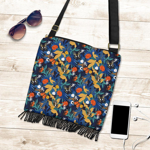 Hawaii Tropical Buttterfly And Flower Crossbody Boho Handbag - AH - J71 - Alohawaii