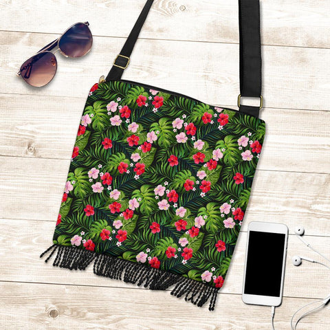 Image of Hawaii Tropical Flower Mix Crossbody Boho Handbag - AH - J71 - Alohawaii