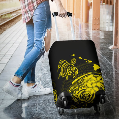 Hawaii Map Plumeria Polynesian Large Yellow Turtle Luggage Covers - AH - J1 - Alohawaii