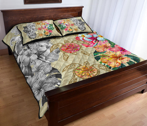 Hawaii Polynesian Flowers Swimming Turtles Quilt Bed Set - AH - J5 - Alohawaii