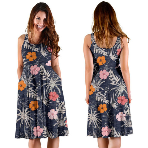 Hawaii Tropical Grey Midi Dress   - AH - J71