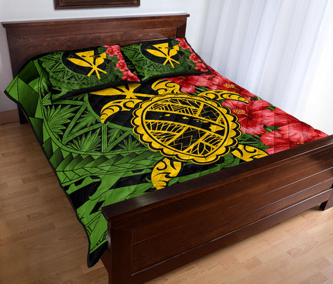 Hawaii Turtle Hibiscus Polynesian Quilt Bed Set - Aphos Style - AH - J4
