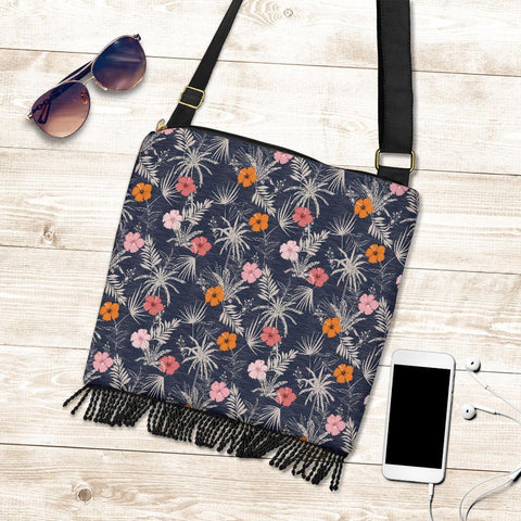 Hawaii Tropical Grey Crossbody Boho Handbag - AH - J71 - Alohawaii