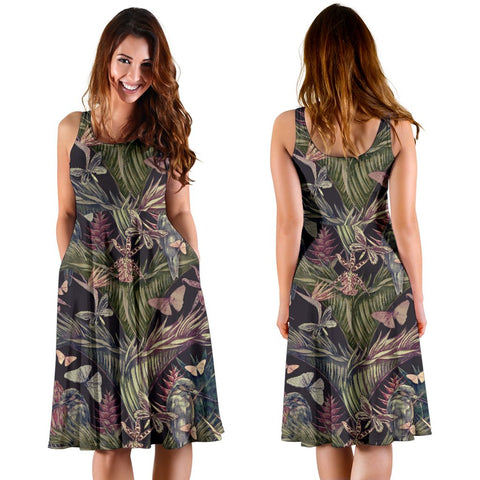 Hawaii Palm Leaves, Tropical Flowers Midi Dress   - AH - J71