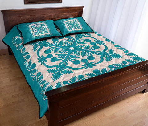 Image of Hawaiian Quilt Bed Set Royal Pattern - Turquoise - AH - J6 - Alohawaii
