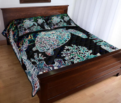 Hawaii Turtle Corals Shell Background Quilt Bed Set - AH J8
