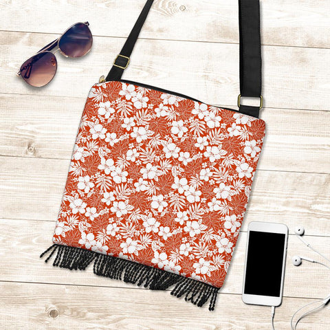 Hawaii Hibiscus Flower Pattern Crossbody Boho Handbag - AH - J71 - Alohawaii