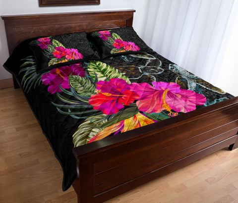 Polynesian Hibiscus Sea Turtle Quilt Bed Set - AH - King Style - J5
