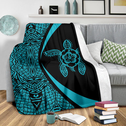 Image of Hawaii Polynesian Tribal Premium Blanket - Circle Style Blue