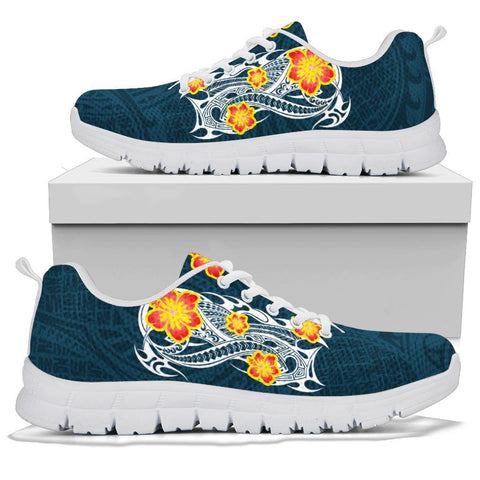 Image of Hawaii Polynesian Hibiscus Sneakers - JVT Style - Blue - AH - J6 - Alohawaii
