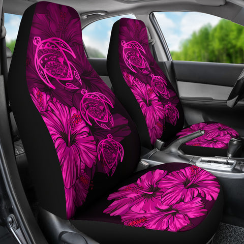 Hawaiian Map Turtle Hibiscus Pink Vintage Polynesian  Car Seat Covers - AH J9 - Alohawaii