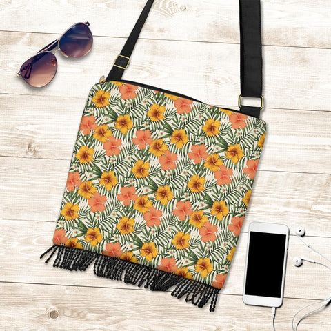 Hawaii Tropical Flowers Hibiscus Pink Yellow Crossbody Boho Handbag - AH - J71 - Alohawaii