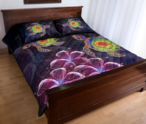 Hawaii Galaxy Turtle Hibiscus Quilt Bed Set - AH - J4