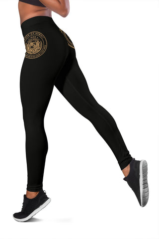 Hawaii State Tattoo Swirly Gold Polynesian Women's Leggings - AH - JG1 - Alohawaii