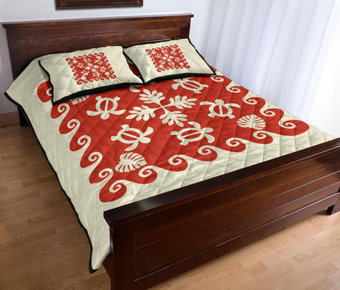 Hawaiian Quilt Bed Set Turtle Pattern - White Mix Red - AH - J2