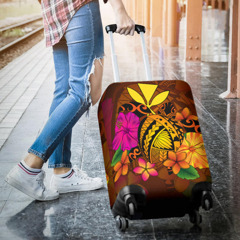 Hawaii Turtle Tribal Map Hibiscus Plumeria Luggage Covers - AH J9 - Alohawaii