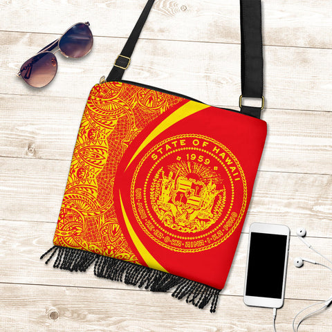 Hawaii Crossbody Boho Handbag Coat Of Arms Polynesian - Circle Style Red And Yellow - AH - J71 - Alohawaii