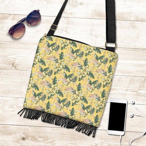 Hawaii Tropical Flamingo Yellow Crossbody Boho Handbag - AH - J71 - Alohawaii