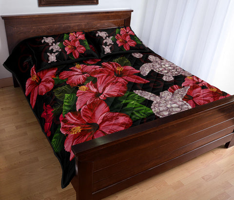 Hawaii Red Hibiscus Turtle Quilt Bed Set - AH - Ray Style - J5