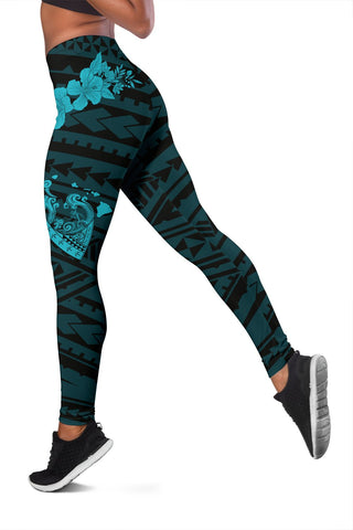 Hawaii Hibiscus Banzai Surfing Women's Legging Blue  - AH - J5 - Alohawaii