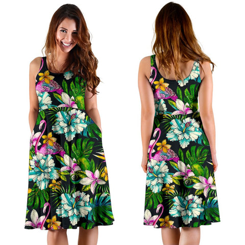 Hawaii Animals And Tropical Flowers Midi Dress   - AH - J71 - Alohawaii