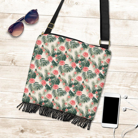 Hawaii Hibiscus Plumeria Tropical Red Crossbody Boho Handbag - AH - J71 - Alohawaii