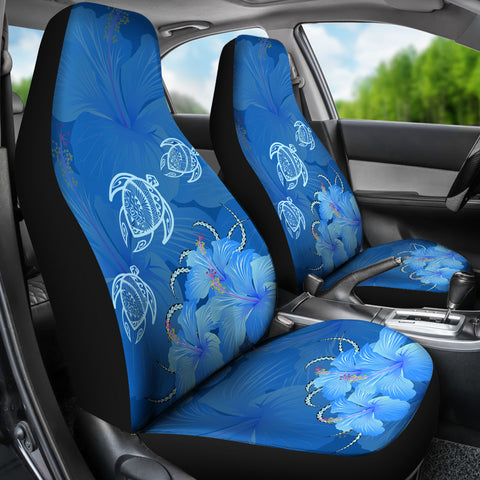 Hawaii Blue Hibiscus Turtle Polynesian Car Set Cover - AH - J4 - Alohawaii
