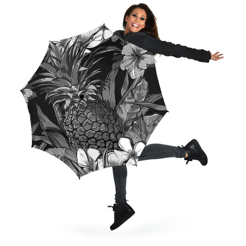 Pineapple Hibiscus Black And White Umbrella - AH - K5 - Alohawaii