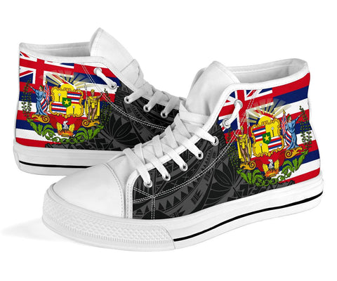 Image of Hawaii High Top Shoes State Flag Polynesian Black Pride AH J1