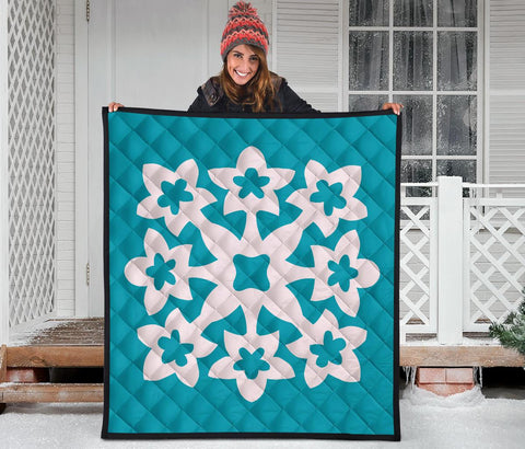 Hawaiian Premium Quilt Royal Pattern - Turquoise