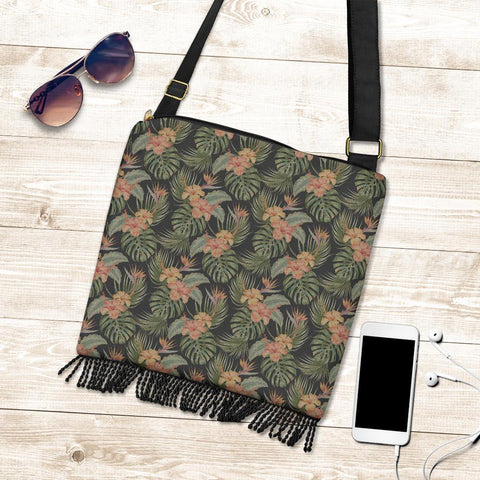 Hawaii Tropical Hibiscus Monstera Leaf Crossbody Boho Handbag - AH - J71 - Alohawaii