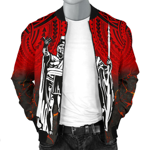 Hawaii King Kamehameha Men's Bomber Jacket - Eruption Style - AH - J6 - Alohawaii
