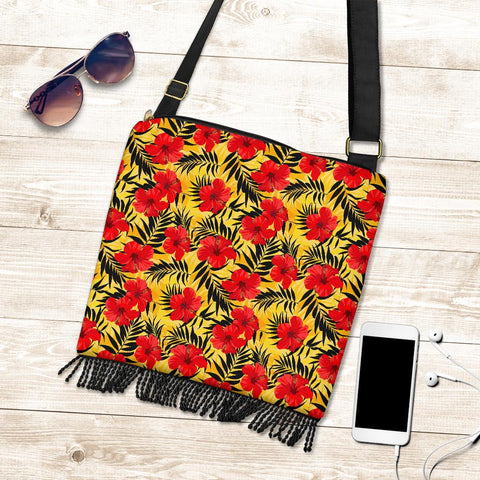 Hawaii Tropical Flowers And Palm Leaves Crossbody Boho Handbag - AH - J71 - Alohawaii