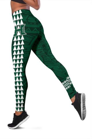 Hawaii Warrior Helmet Football Green Kakau Women's Leggings