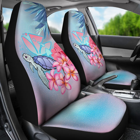 Hawaii Map Kanaka Turtle Galaxy Night Plumeria Hibiscus Car Seat Covers - AH - J5 - Alohawaii