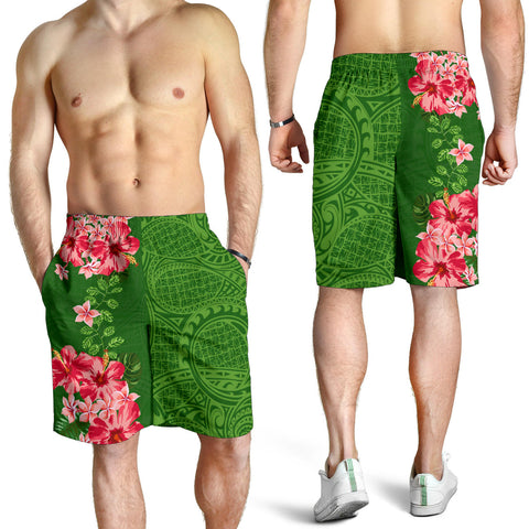 Image of Hawaii Tropical Flower Polynesian Men's Shorts - Curtis Style - Green - AH - J2 - Alohawaii