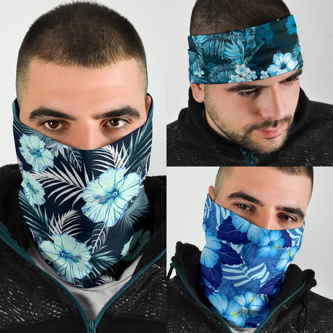 Hawaiian Hibiscus Blue Set Bandana 3-Pack J0 - Alohawaii