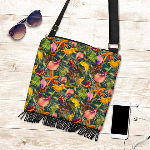 Hawaii Seamless Tropical Flower Plant And Leaf Pattern Crossbody Boho Handbag - AH - J71 - Alohawaii