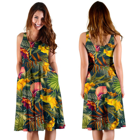 Hawaii Seamless Tropical Flower Plant And Leaf Pattern Midi Dress   - AH - J71 - Alohawaii