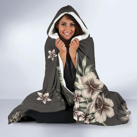 Hawaii Turtle Polynesian Hibiscus Kanaka Style Tropical - Hooded Blanket AH J2