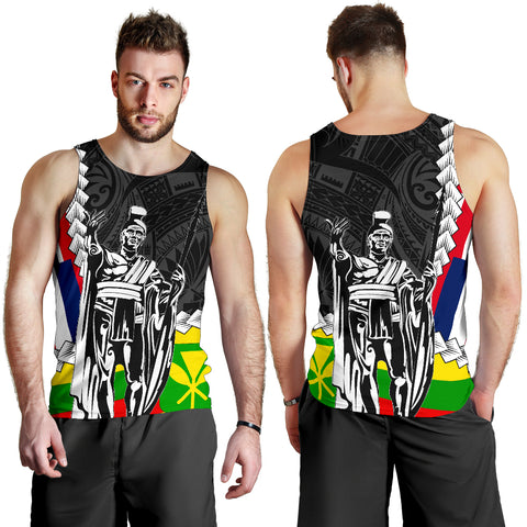 Hawaii Two Flag Kanaka Maoli King Polynesian Men's Tank Top