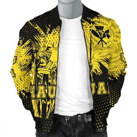 King Kamehameha Hawaii Men's Bomber Jacket - Yellow - Vincent Style - AH J91 - Alohawaii