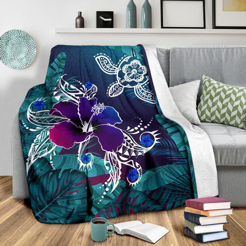 Alohawaii Premium Blanket - Hawaii Turtle Flowers And Palms Retro - AH J8 - Alohawaii