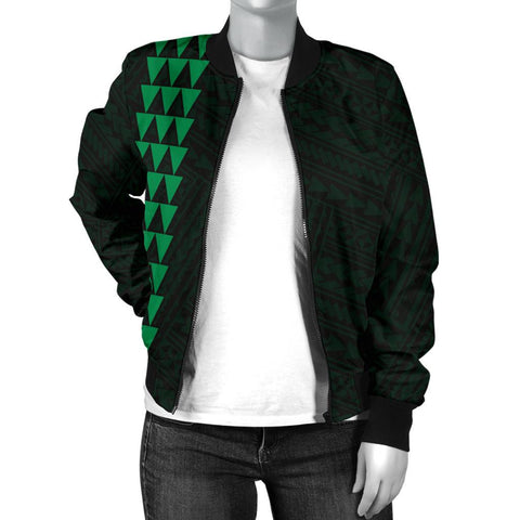 Hawaii Kakau Polynesian Turtle Map Women's Bomber Jacket - Green - AH - J6 - Alohawaii