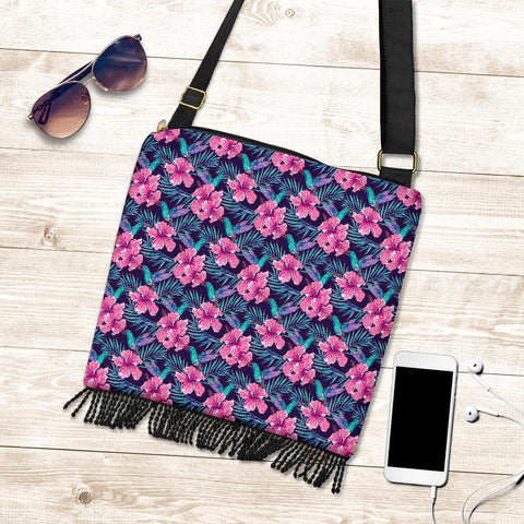 Hawaii Tropical Flowers With Hummingbirds Palm Leaves Crossbody Boho Handbag - AH - J71 - Alohawaii