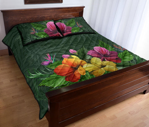 Hawaii Colorful Hibiscus Quilt Bed Set