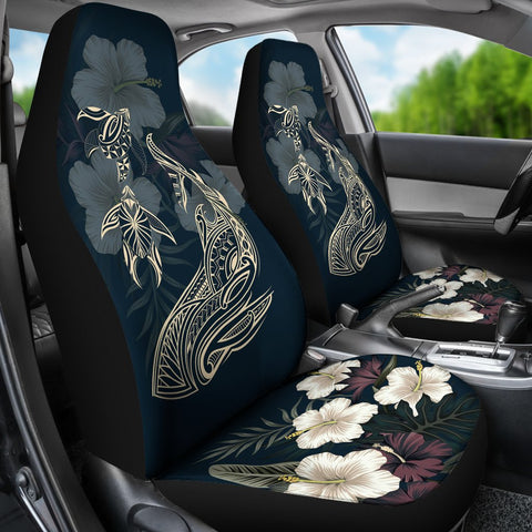 Image of Hawaii Tropical Hibiscus Turtle Shark Aumakua Car Seat Covers - Lucas Style - Blue - AH - J6 - Alohawaii