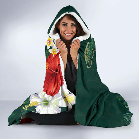 Hawaii Sea Turtle Hibiscus Plumeria Hooded Blanket - AH - J4